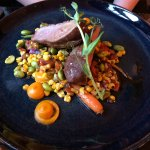 YARRA VALLEY LAMB 33 White bean puree, sugar snap peas, broad beans, pumpkin & fetta (GF, OLF)