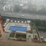 Outside view from the room. Swimming pool below