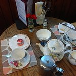 Just a snack, lovely teapot, cups & saucers