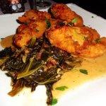 Boneless southern fried chicken w/ buttered collard greens, mashed potatoes & gravy