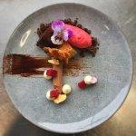 """""""Chocolate, caramel, nuts"""" - flourless cake, chocolate cremeux, namelaka, florentine, sorbet"""