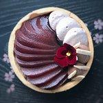 """Pears, wine, almonds"" - almond sablée, milk chocolate cremeux, poached pear, Merlot chantilly"