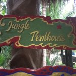 Sign at stairs leading up to Jungle Penthouse