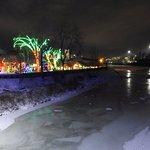 Frozen river, zoolights and Calgary skyline