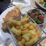 fish,chips and salad