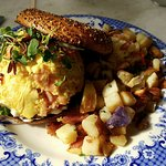 The smoked salmon scramble with a medley of potatoes