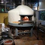 impressive wood fire pizza oven!