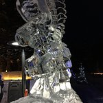 Ice sculptures outside fairmont chateau Lake Louise
