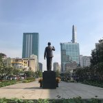 Ho Chi Minh statue looking down towards the river