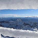 Der Blick zum Rotsteinpass, Berg Altman und den Bündner Bergen bis nach Italien