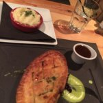Steak and ale pie with mashed potato