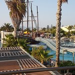 Pirate ship and pool, with activity pool behind