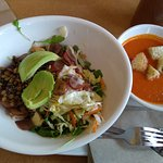 soup and quinio salad
