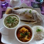 Fish rice and delicious khmer vegetables