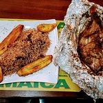 Roast jerk fish with rice & peas (& fried ripe plantains)