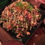 Ahi Tuna Nachos-Sushi grade Ahi, Asian slaw, crispy fried wontons, wasabi aioli, sweet soy glaze