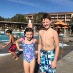 Ella and Mikey enjoying the Volcano Pool!