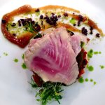 Tuna with olives and basil