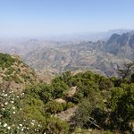 View over the Simien Mountains from terrace of the Limalimo Lodge