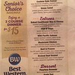 This is the senior menu for 55 years and up
