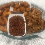 That's a pound of BBQ, fried zucchini, baked beans and hush puppies