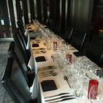Our front dining room is ready for your private party.  It seats up to 25.