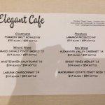 Wine list at Elegant Cafe