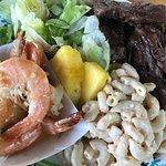 Roast beef and prawn