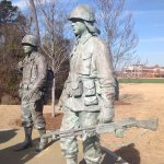 Walk of Honour the statue of 5 mourning soldiers: battledress of WW2, Korea, Vietnam & Gulf War