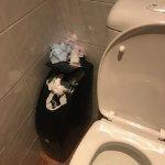 overflowing sanitary bins in foyer toilets