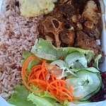 Oxtail n Beans served with Rice n Peas, Mashed Potato & Salad