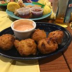 conch fritters (and calamari behind)