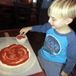 "making my own pizza - ""I'm going to make Grandma's face"""