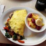 vegetable omelette, fresh fruit cup