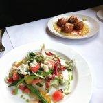 Beet & Haricot Verts Salad & Savory Meatballs w/Polenta