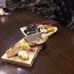 Mussels, scallops and overnight roast pork