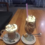 Iced mocha and deluxe dark hot chocolate