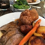Roast Beef, side of greens and red red wine