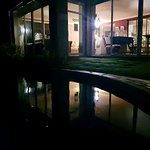 Night view of Patio from the swimming pool