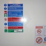 Fire Safety Warnings, free Wi fi, No Smoking, No Takeaways in Room.