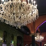 Gorgeous, old chandeliers in the bar area