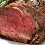 Prime rib cooked in rotissary