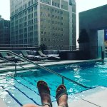 Roof top pool lounging