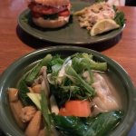 Amazing salmon burger with coleslaw, yummy Wonton soup