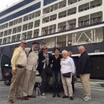 Happy tourists delivered back to the ship after a day in Lourdes