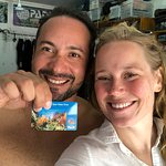 A proud new open water certified diver and her amazing teacher, Andres!