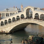 View of Rialto bridge from rooftop patio