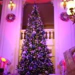 Christmas tree at topd of stairs--foyer of Hanoi Opera House