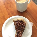 Bourbon Pecan Pie and Cup of Coffee