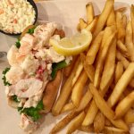 Lobster roll and fries.